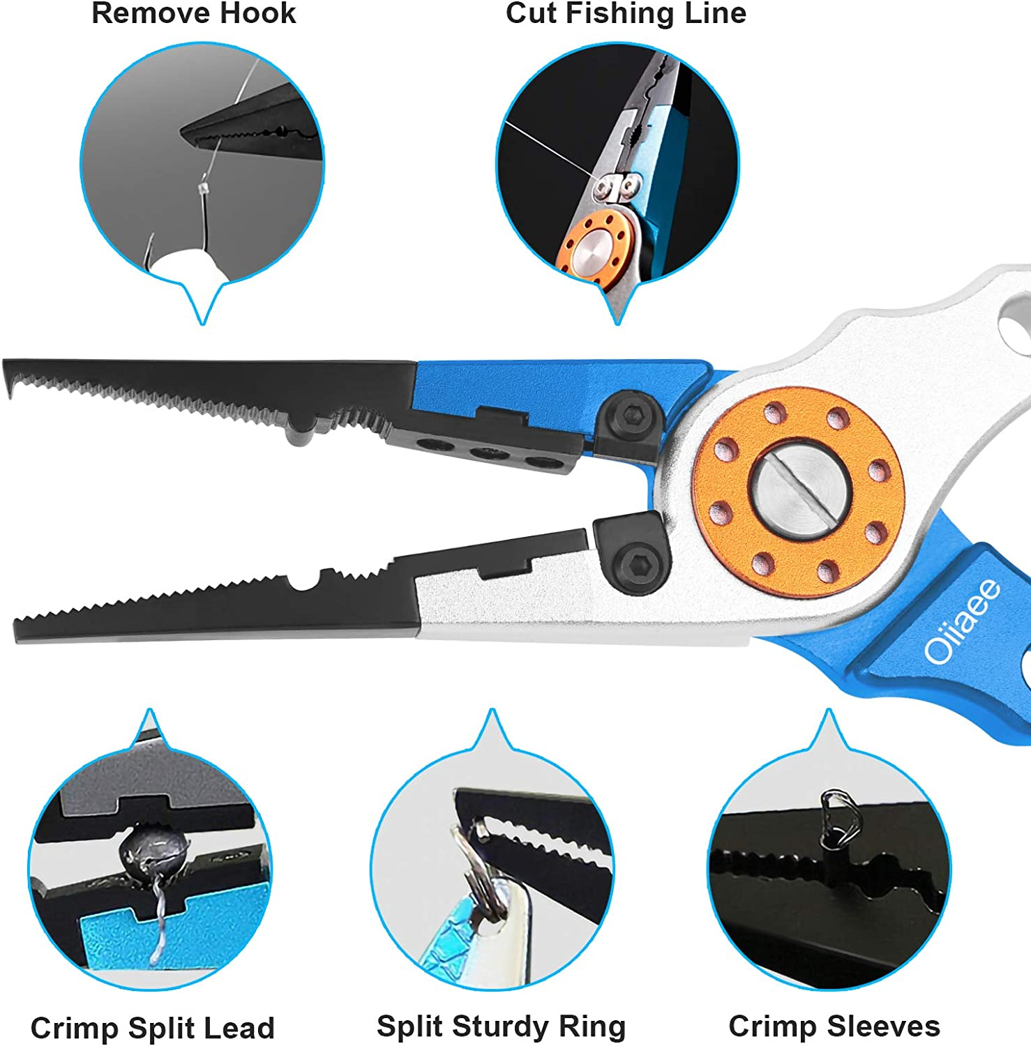 Oiiaee Fishing Pliers, Stainless Steel Fishing Lip Gripper Muti-Function Fishing Tools Set Hook Remover Split Ring, Fly Fishing kit, Ice Fishing Gear,Fishing Gifts for Men(Black) : Sports & Outdoors