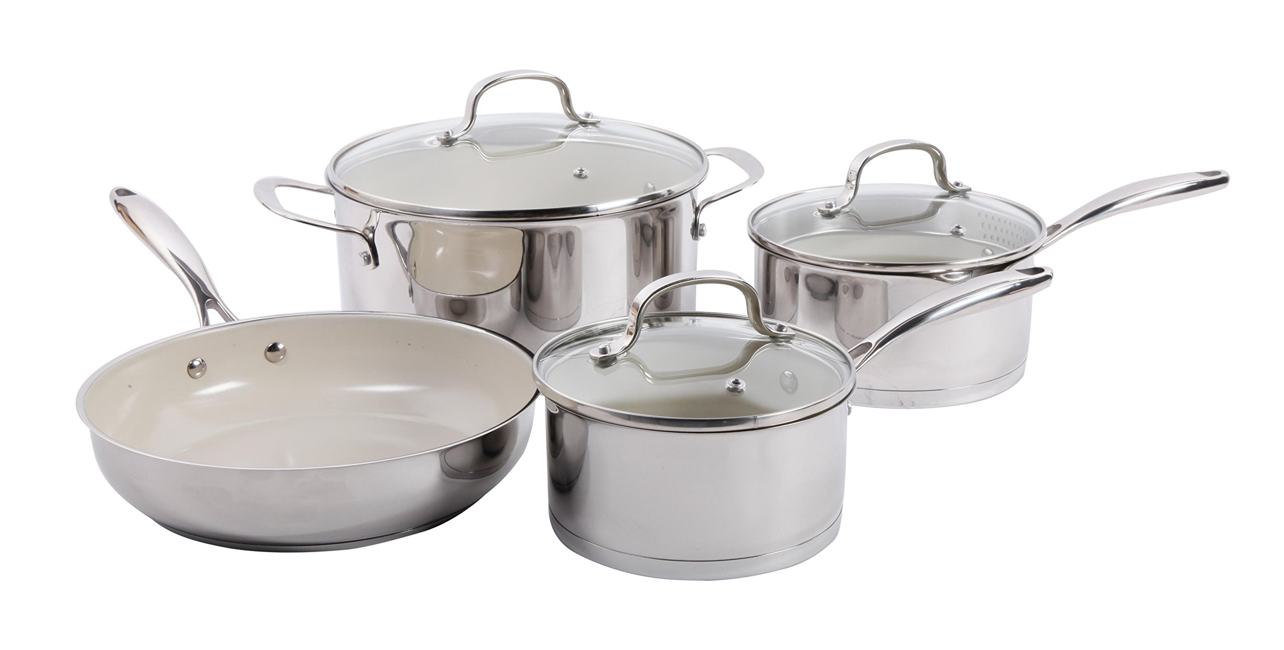 Gibson Cuisine 108181.07 Gleaming 7 Piece Cookware Set with Ceramic Nonstick Interior, Stainless Steel