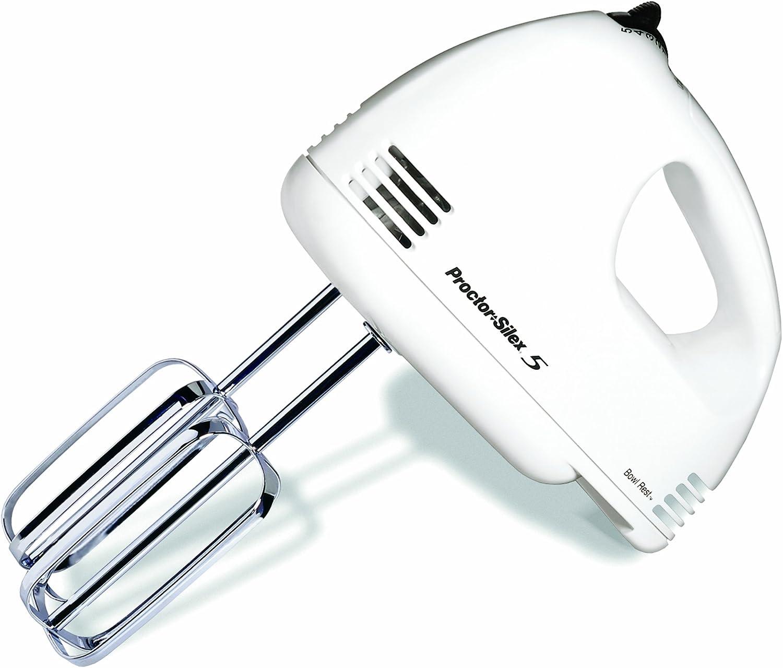 New Proctor Silex 5 Speed Hand Mixer White Kitchen Electric Power Beater 100