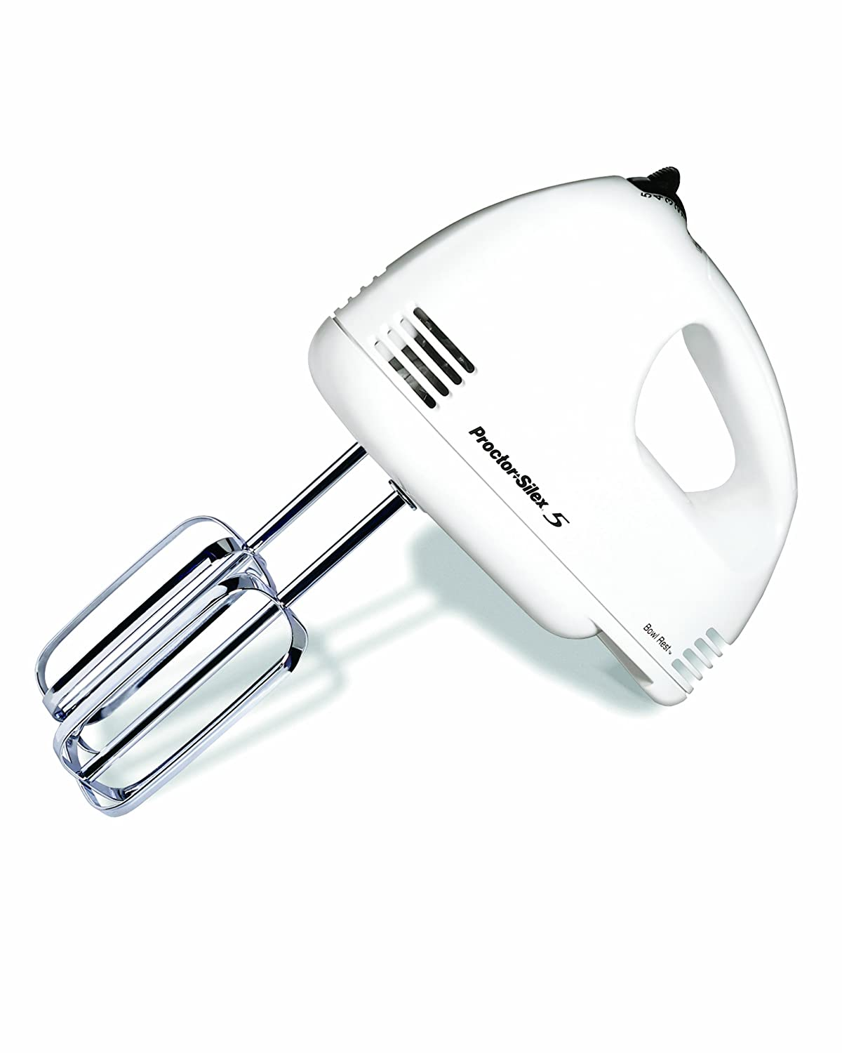 Proctor Silex 62515RY 5-Speed Easy Mix Hand Mixer, White