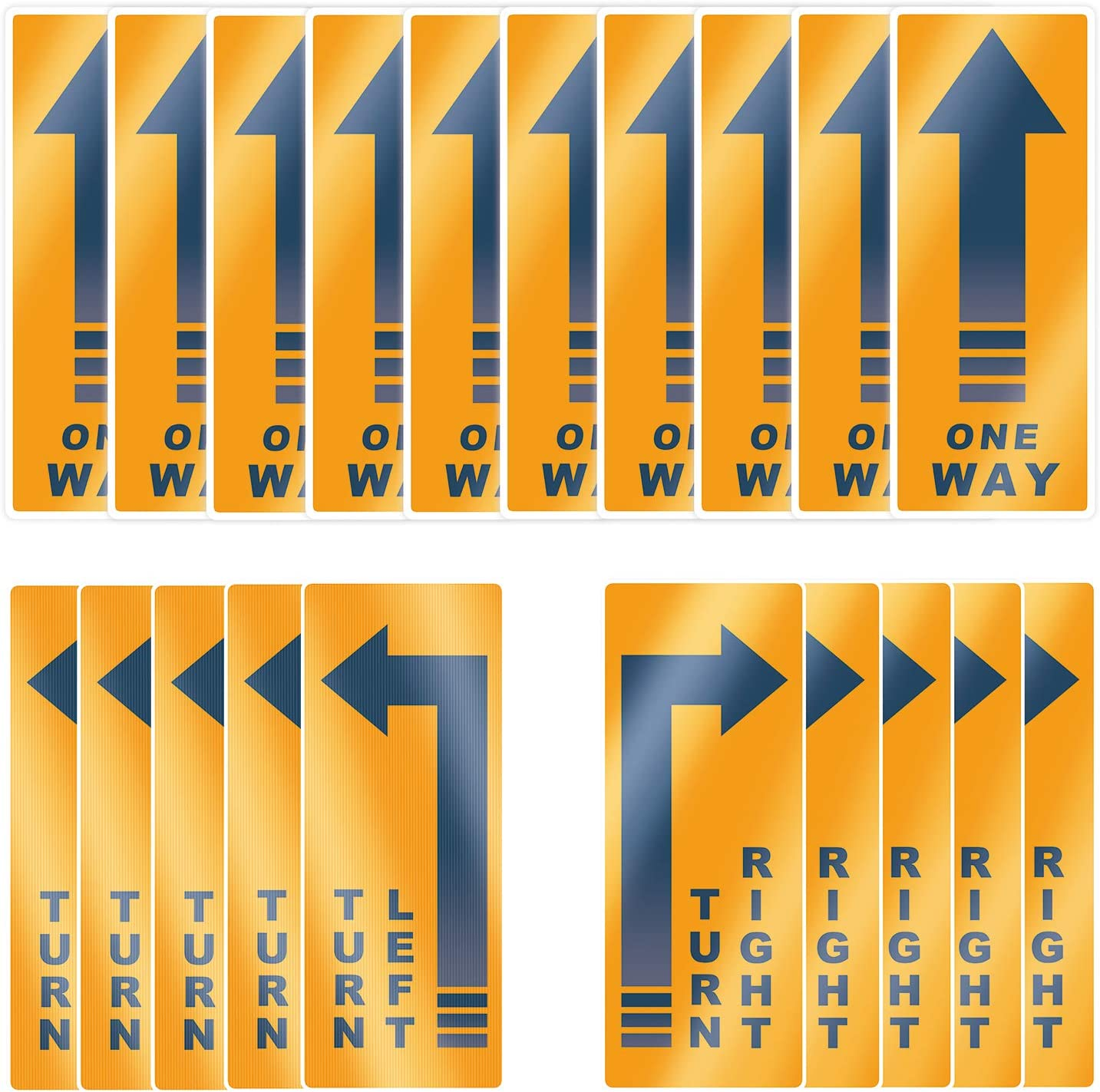 """Acessorz One Way Floor Decal Sign, Turn Left/Right Store Sign, 5""""×12"""" Directional Arrow Floor Sticker One Way Vinyl Decal Non-Slip Removable Reusable Business Office Grade Arrow Sign Markers - 20 Pack"""