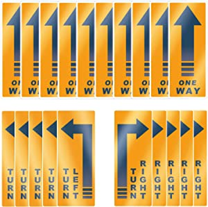 "Acessorz One Way Floor Decal Sign, Turn Left/Right Store Sign, 5""×12"" Directional Arrow Floor Sticker One Way Vinyl Decal Non-Slip Removable Reusable Business Office Grade Arrow Sign Markers - 20 Pack"
