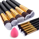10+ Pieces Premium Synthetic Silky Makeup Brush Set Professional Makeup Brushes Powder Brush Makeup kit oval Brush Set & Makeup Blender Sponges Pink Makeup tools