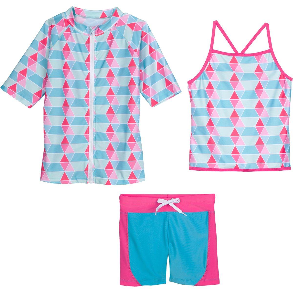 SwimZip Girls Short Sleeve Rash Guard Swim Shorts Set UPF 50+ Sun Protective Zipper Blue 4T SZISSSHORTSET3PC16