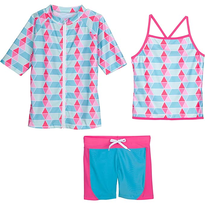 c62bbee3bb SwimZip Girls Short Sleeve Rash Guard Swim Shorts Set UPF 50+ Sun Protective  Zipper Blue 4T: Amazon.ca: Clothing & Accessories