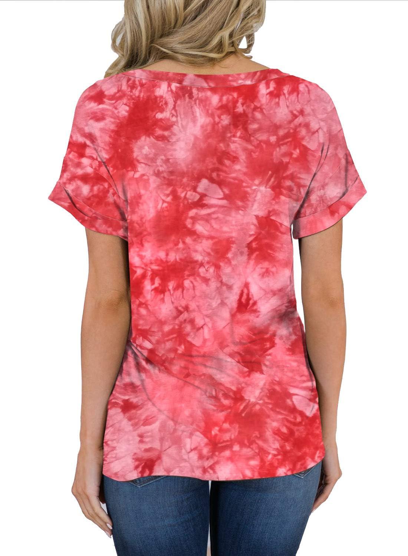MIHOLL Womens Short Sleeve V-Neck Shirts Loose Casual Tee T-Shirt