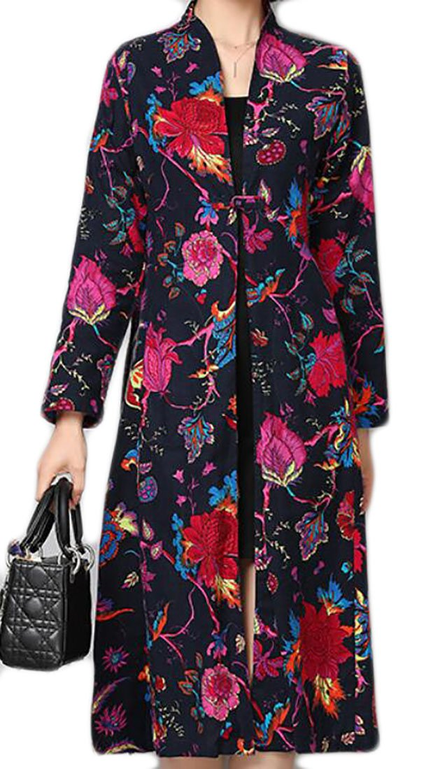 Alion Women's Fashion Ethnic Style Printing Flower Long Jacket Navy Blue L