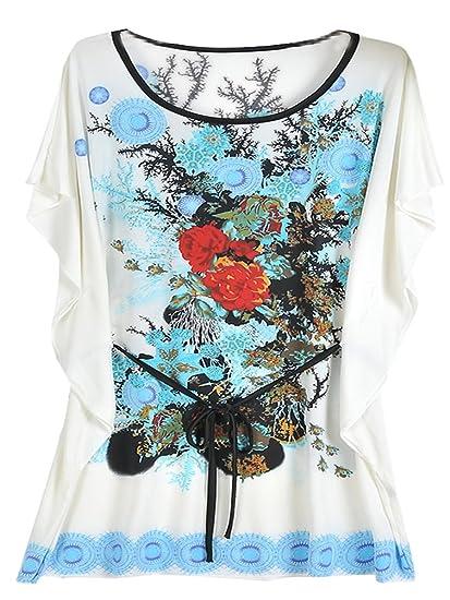 Blusas De Vestir Tallas Grandes Camisetas Mujer Largas Camisas Estampadas Verano Impreso Floral Tops Manga Corta