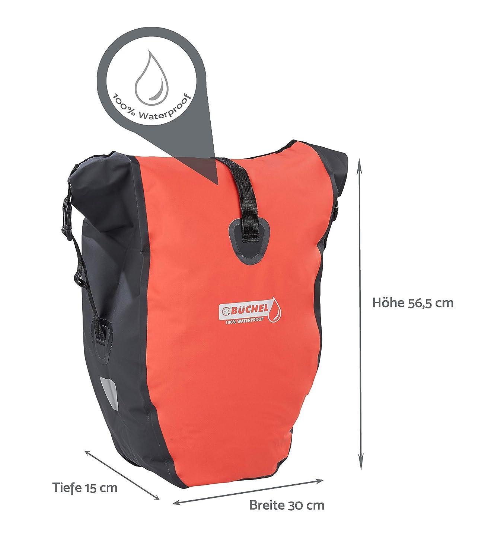 Color Negro y Rojo 100/% Impermeable Alforja para Bicicleta B/üchel 81518002