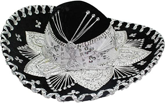 aa11b1a6cf3 Amazon.com  Authentic Mariachi Sombrero Flowers Style Fancy Premium Mexican Sombrero  Hat Made in Mexico (Choose Size   Color)  Clothing
