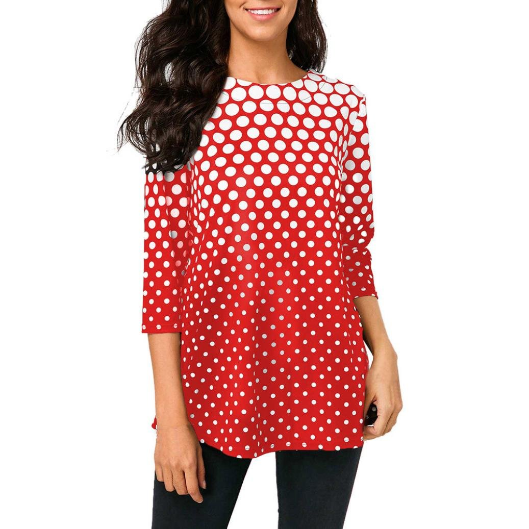 Flurries Women Dress, Fashion Womens O-Neck T-Shirt Tops Three Quarter Sleeve Polka Dot Print Blouse (2XL, Red)