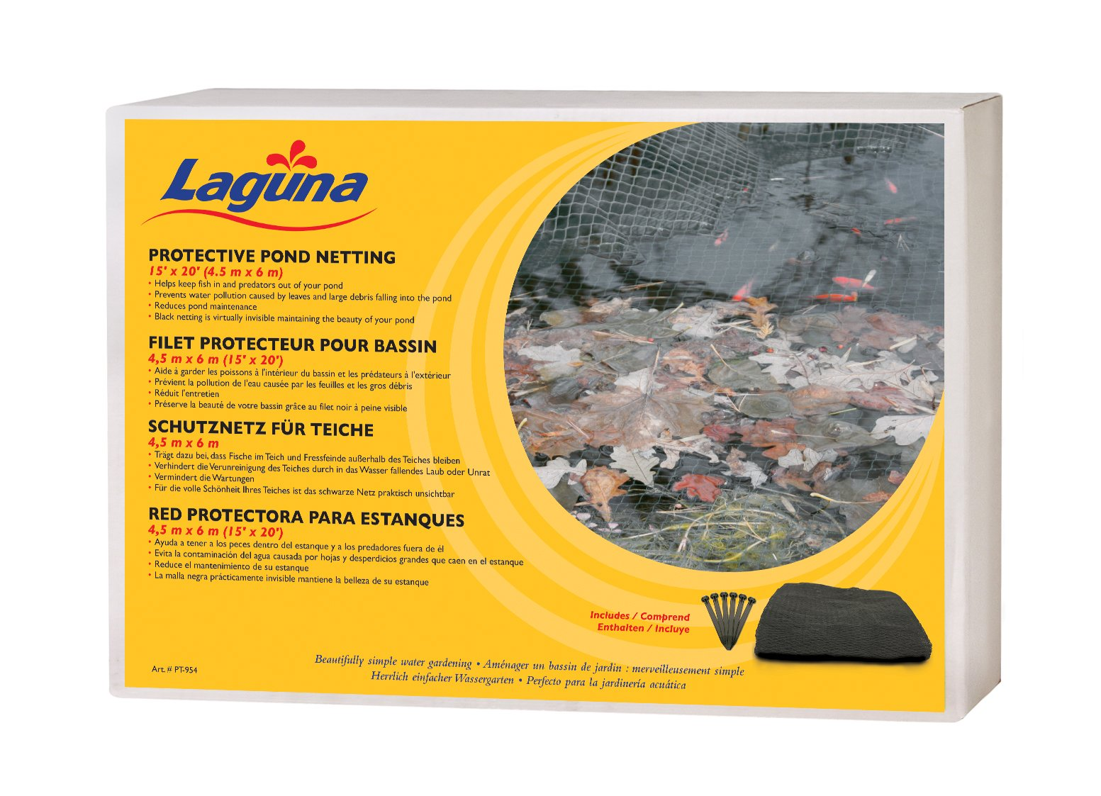 15 Feet x 20 Feet Pond Netting with Placement Stakes, Black by Laguna