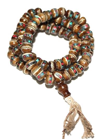 Brown Tibetan Yak Bone Yogi Mala Yoga 108 Prayer Beads Mala