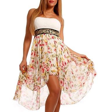 93cb111e76f Made Italy Damen Vokuhila Bandeau Chiffonkleid Minikleid