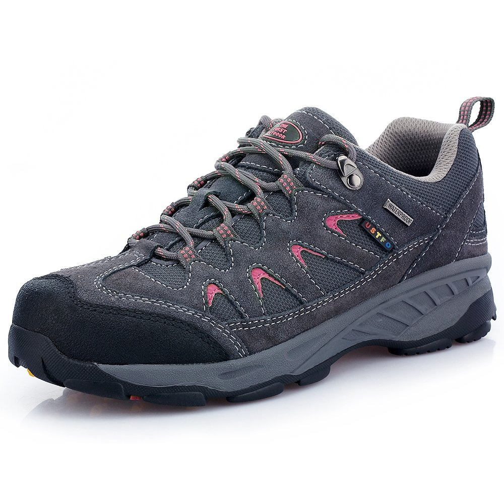The First Outdoor Women's Breathable Low Waterproof Shock Absorb Hiking Shoes Gray (US 8)