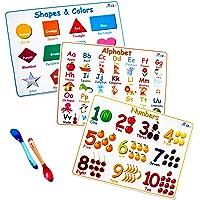 21Juniors 儿童*食品硅胶餐垫 - 可携带 3 件套:字母、数字、形状和颜色 - 防滑可清洗,配有 2 个热敏硅胶勺子