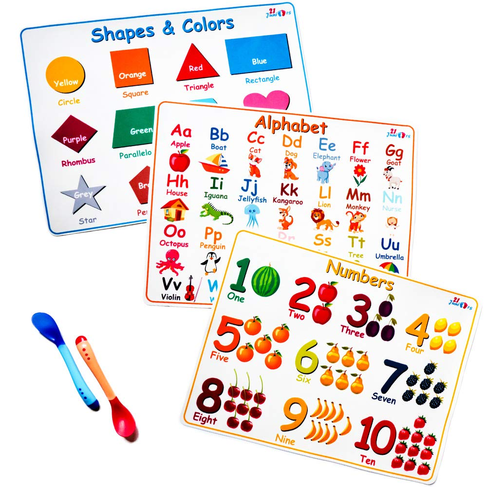 21Juniors Educational Silicone Kids Placemats - Portable Set of 3 : Alphabet, Numbers, Shapes & Colors - Non Slip and Washable with 2 Heat Sensitive Silicone Spoons for Baby by 21Juniors