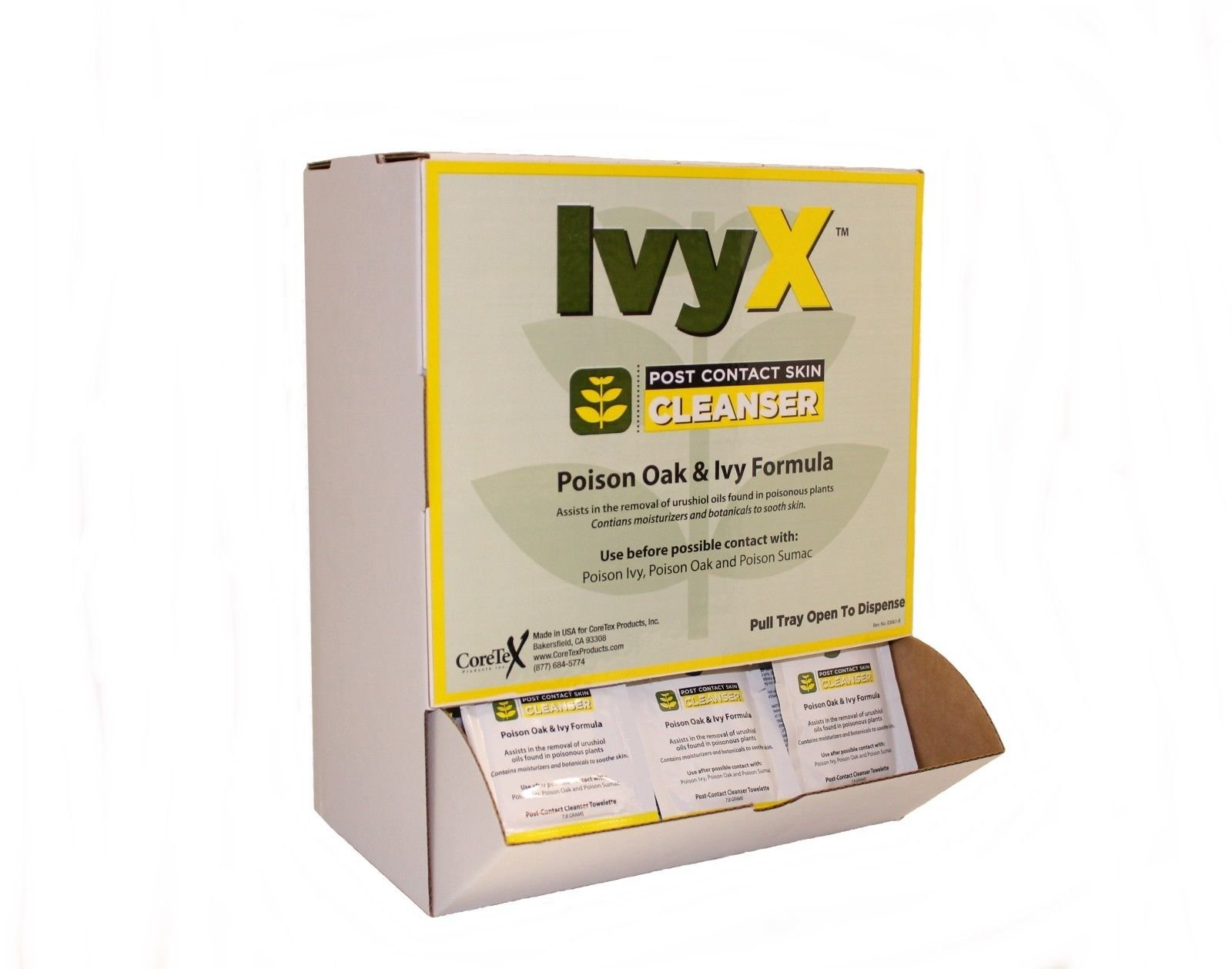 CoreTex Ivy X Post-Contact Skin Cleansing Wipes,50 Wipes/Box by Coretex