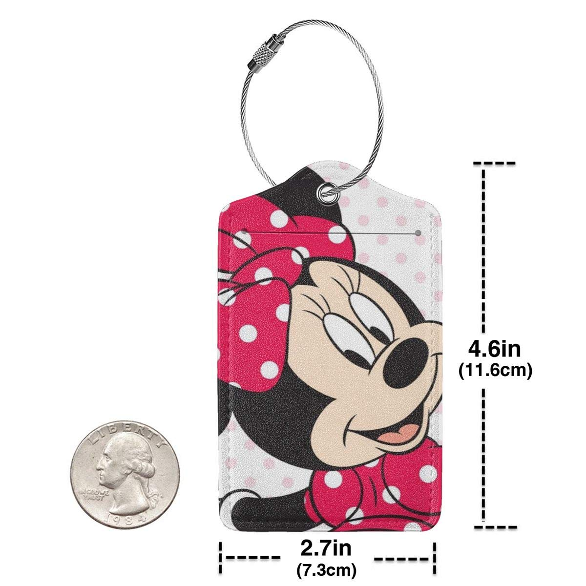 Fashion Mine Mouse Soft Leather Luggage Tags With Privacy Cover 1-4 Pcs Choose Suit For Travel,Vacation