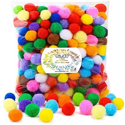 Amazon.com: Caydo 300 piezas 1 pulgada surtido pompones ...