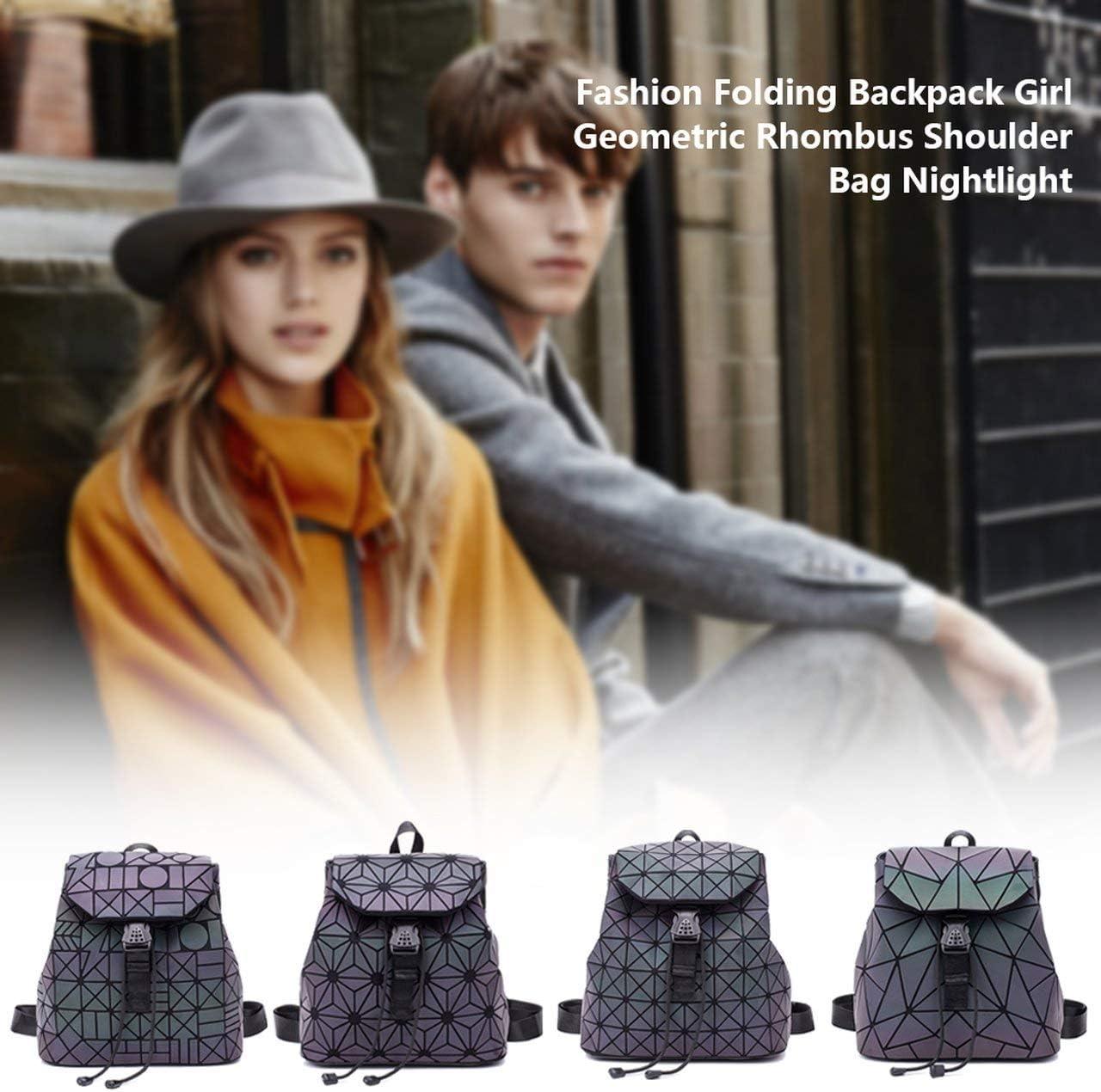 Bag Female Fashion Folding Backpack Female Geometric Rhombic Backpack Magic Color Luminous Gradient Color Backpack
