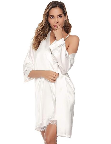 Sykooria Bata Kimono Mujer, 2 Piezas Seda Satén Corto Kimono Bata Pijama Vestido de Encaje Conjunto de Lencería Albornoz Vestido de Dama de Honor de ...