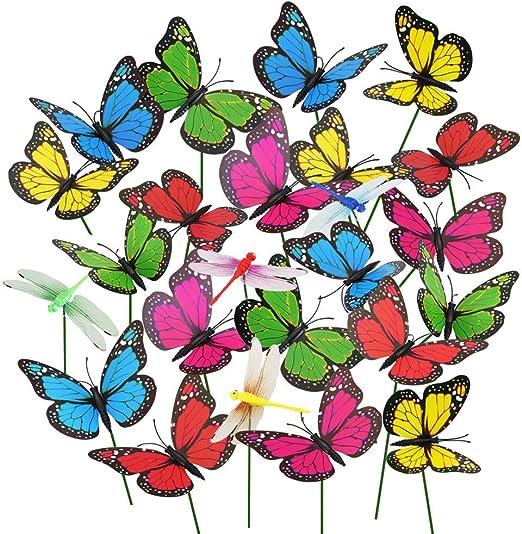 Rmeet Mariposas de Jardín Estacuas,Coloridas Mariposas Libélulas de Jardín 20 Pack Plástico Adornos de Patio para la Fiesta al Aire Libre Decor Decoración de Planta 9 CM: Amazon.es: Hogar