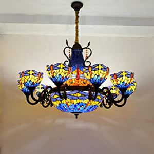 Large Red Dragonfly Tiffany Style Stained Glass 10 Arms Composite Chandelier with 20 Inch Inverted Pendant Lighting,Blue Orange Crystal Beads Glass Lampshade,Ceiling Light for Living Room