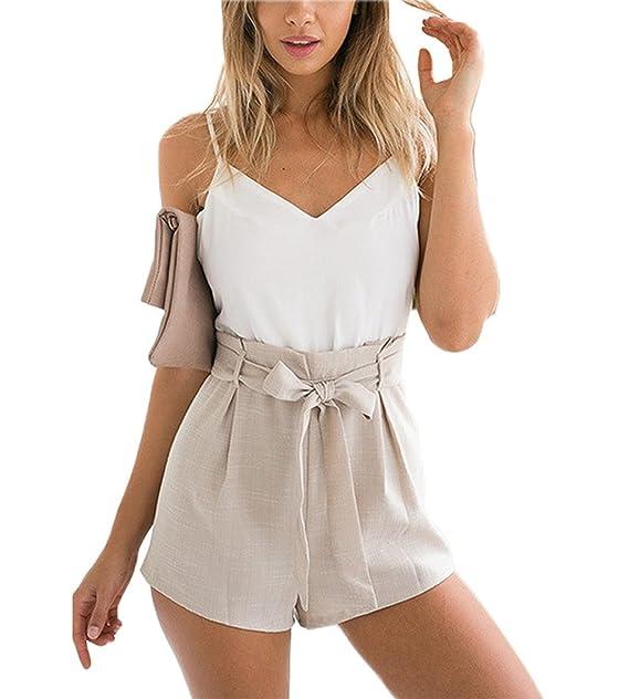 4c61a1d4ac25b9 Minetom Donne Estate Moda Scollo V Tuta Senza Maniche Pagliaccetto Pantaloni  Corti Shorts Monopezzi Tutine Jumpsuit: Amazon.it: Abbigliamento