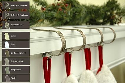 Original Mantlefireplace Clip Pewter Embossed Holly Christmas