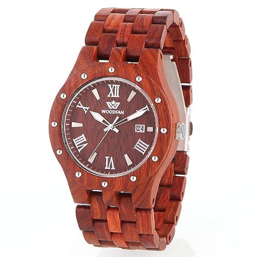 Para Reloj Madera A Hecho Hipoalergénico Hombre Mano Rojo De Woodfan doBrQeWCx