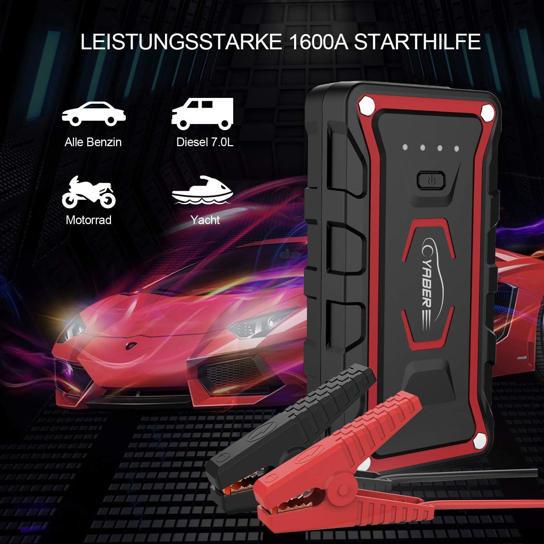 1600A Spitzenstrom 20000mAh Auto Starthilfe Starthilfeger/ät f/ür Alle Benzin oder 7,0L Dieselmotor 2 LED Taschenlampe Starthilfe Powerbank QC3.0 Ausgang