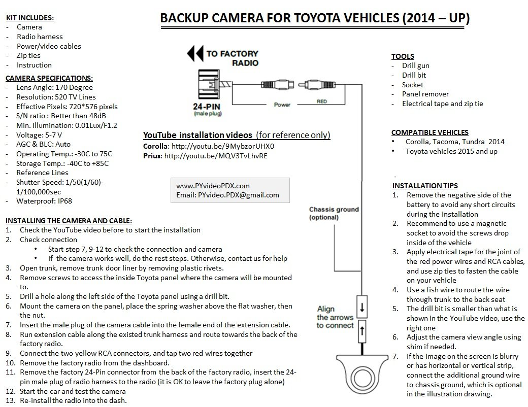 Toyota Corolla Premium Radio Back Up Camera Wiring Diagram 58 Tundra Backup Sl1040 Amazon Com Pyvideo Kit For Prius 2015 At