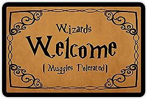 """Front Door Mat Entrance Floor Mat Wizards Welcome Muggles Tolerated Funny Doormat Decorative Indoor Outdoor Doormat, 23.6"""" x 15.7"""""""
