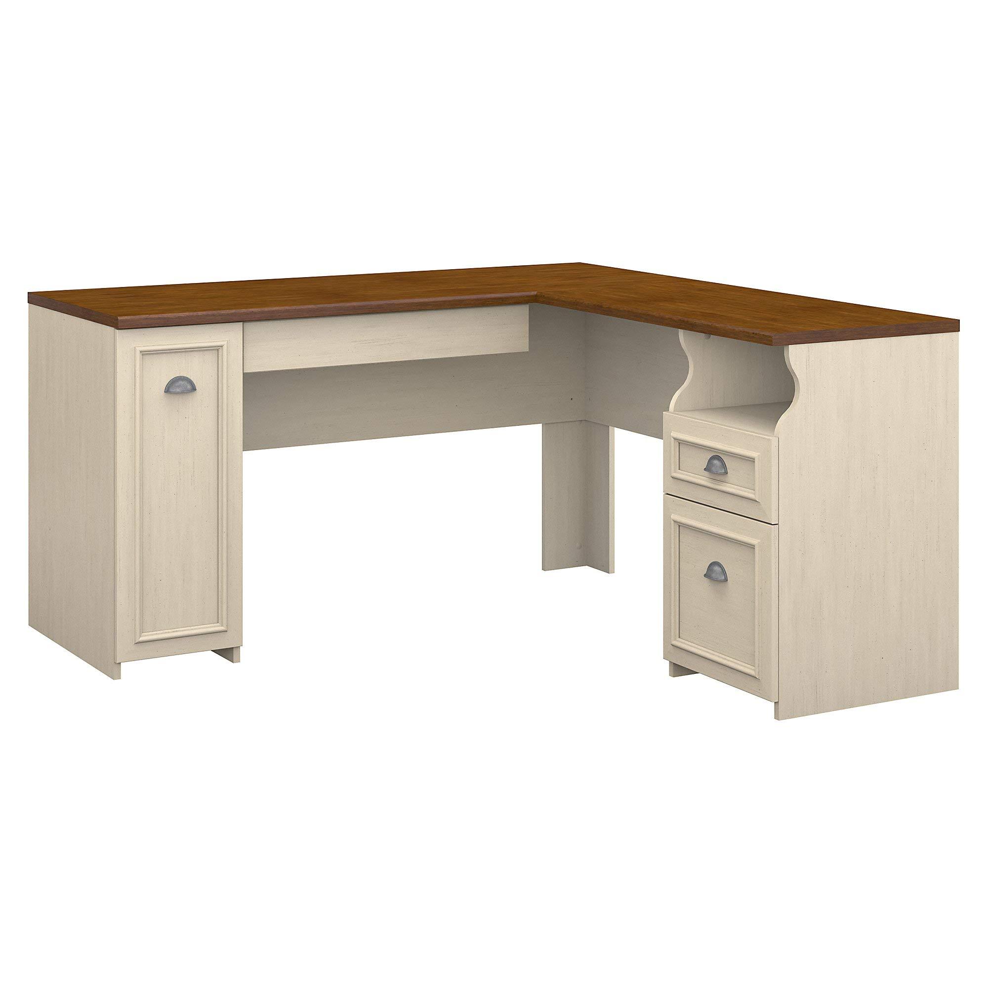 Bush Furniture Fairview L Shaped Desk in Antique White by Bush Furniture