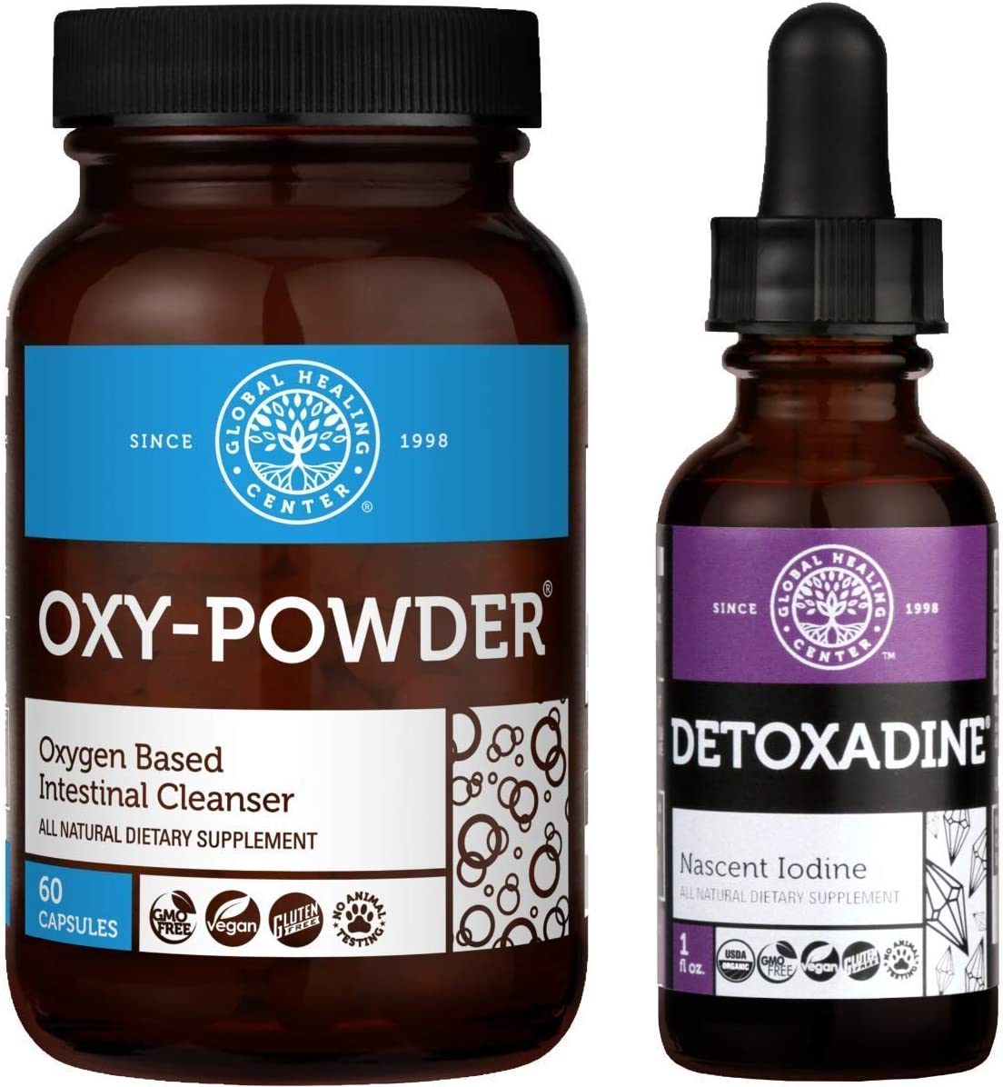 Global Healing Oxy-Powder & Detoxadine Detox Cleanse Kit - Natural, Oxygen Based Colon Cleanser of Intestinal Tract & Organic Nascent Liquid Iodine Supplement Drops For Thyroid - 60 Capsules & 1 Fl Oz