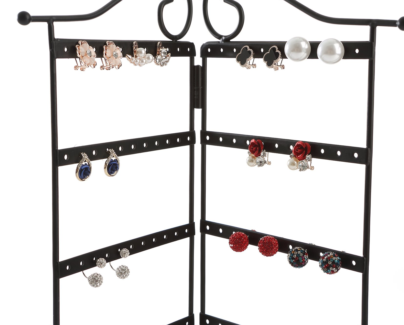 Giftway 3-Panel Organizer for Hanging Earrings, Bracelets and Necklaces, Black
