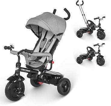 besrey Triciclo Bebé, Triciclo Evolutivo 4 En 1 Trike Bicicleta para Bebe Nino (1-6 año) con Mango y Cubierta de Lluvia, función Silla de Paseo: Amazon.es: Juguetes y juegos