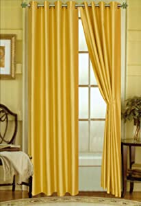 """Editex Home Curtain Faux Silk Panel with Grommets, 108"""", Yellow, Pack of 1 Panel"""
