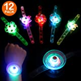 Satkago 12 Pack Fidget Light up Bracelet Toys, Thanksgiving Gift Basket Glow in The Dark Wristband with Spinning Top Fidget T
