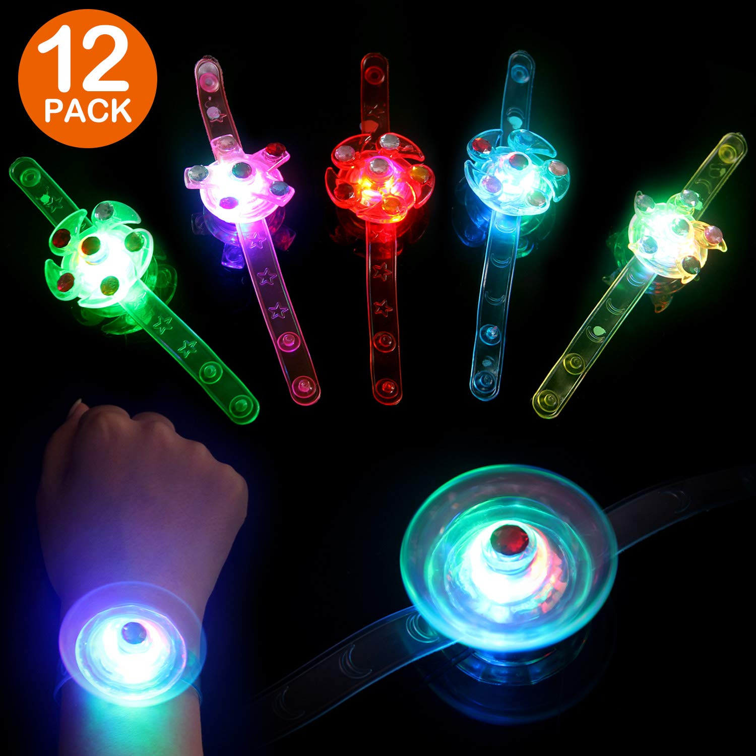 Satkago Glow in The Dark Birthday Party Favors for Kids,12 Pack Halloween Party Favors Light Up Bracelets Toys Hand Spin Stress Relief Anxiety Toys Bulk Fidget Toys Boys Girls by Satkago