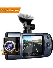 """TrekPow T1 Dashcam 1080P - Camera Embarquée Voiture Full HD Mini avec Objectif Rotatif 180°, Ecran LCD 2"""" DVR, 170° Angle de Vue, Détection de Mouvement, Capteur-G Sony, Vision Nocturne"""