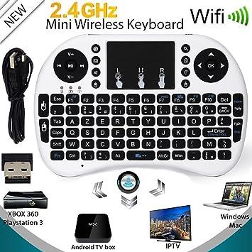 Nestling® i8 - Miniteclado QWERTY 2.4 GHz inalámbrico con ratón táctil, para ordenador portátil, Android, TV, ordenador, tableta, PS3, XBOX blanco: ...