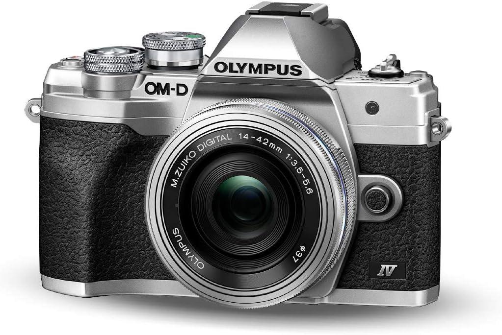 Kit de cámara del Sistema Micro Four Thirds Olympus OM-D E-M10 Mark IV, Sensor de 20 Mpx, Visor electrónico, vídeo 4K, Wi-Fi, Plata, Incluye el M.Zuiko Digital ED 14-42mm F3.5-5.6 EZ Pancake Plata