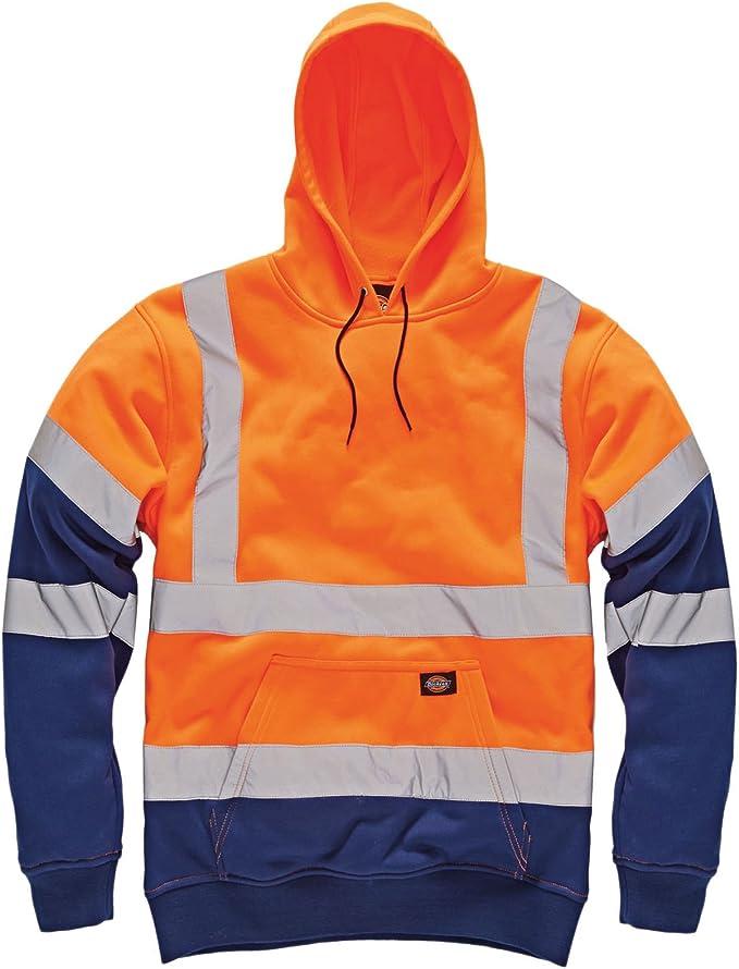 Dickies HI VIZ VIS Sweat à capuche à capuche haute visibilité pour travail de sécurité et travail à capuche uni 2 tons Top réfléchissant Sweat shirt à