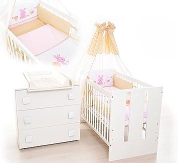 13tlg Kinderzimmer Babyzimmer Hase Wickelkommode Babybett Voll