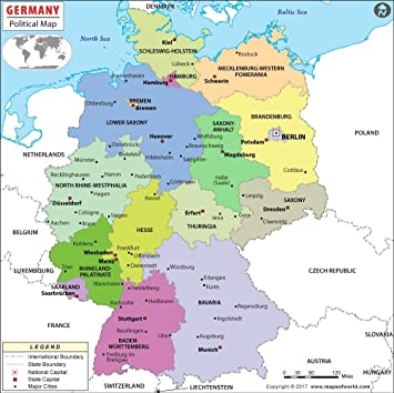 Amazon Com Germany Political Map 36 W X 35 8 H Office Products
