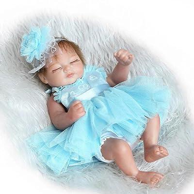 Terabithia 11 Pulgadas Mini Lifelike Dormir Reborn bebé muñecas de la Cabeza Blue Flower Washable Girl: Juguetes y juegos