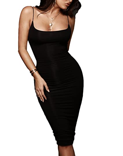 TheFound Women s Sexy Spaghetti Strap Sleeveless Bodycon Stretch Club Midi  Dress (Black c403202ac