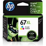 HP 67 | 2 Ink Cartridges | Black and Tri-Color | Works with HP ENVY 6000 Series, HP ENVY Pro 6400 Series, HP DeskJet 1255, 27